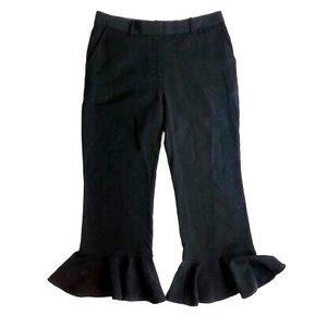 Robert Rodriguez Ruffle Hem Black Crop Pants Sz 6